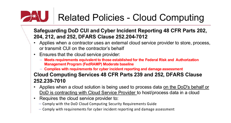 DAU Related Policies Cloud Computing