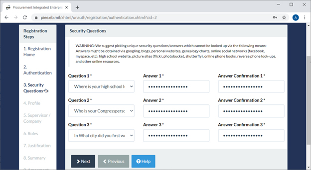 PIEE Security Questions